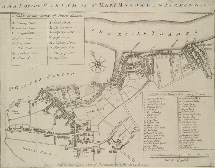 A MAP OF THE PARISH OF ST MARY MAGDALEN BERMONDSEY